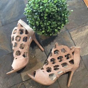 Madeline Stuart caged taupe faux suede heels